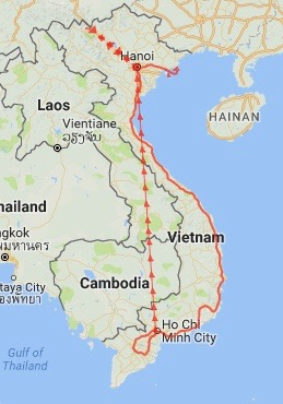 Our route - Vietnam 2016