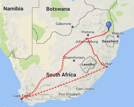 Our route - South Africa 2016