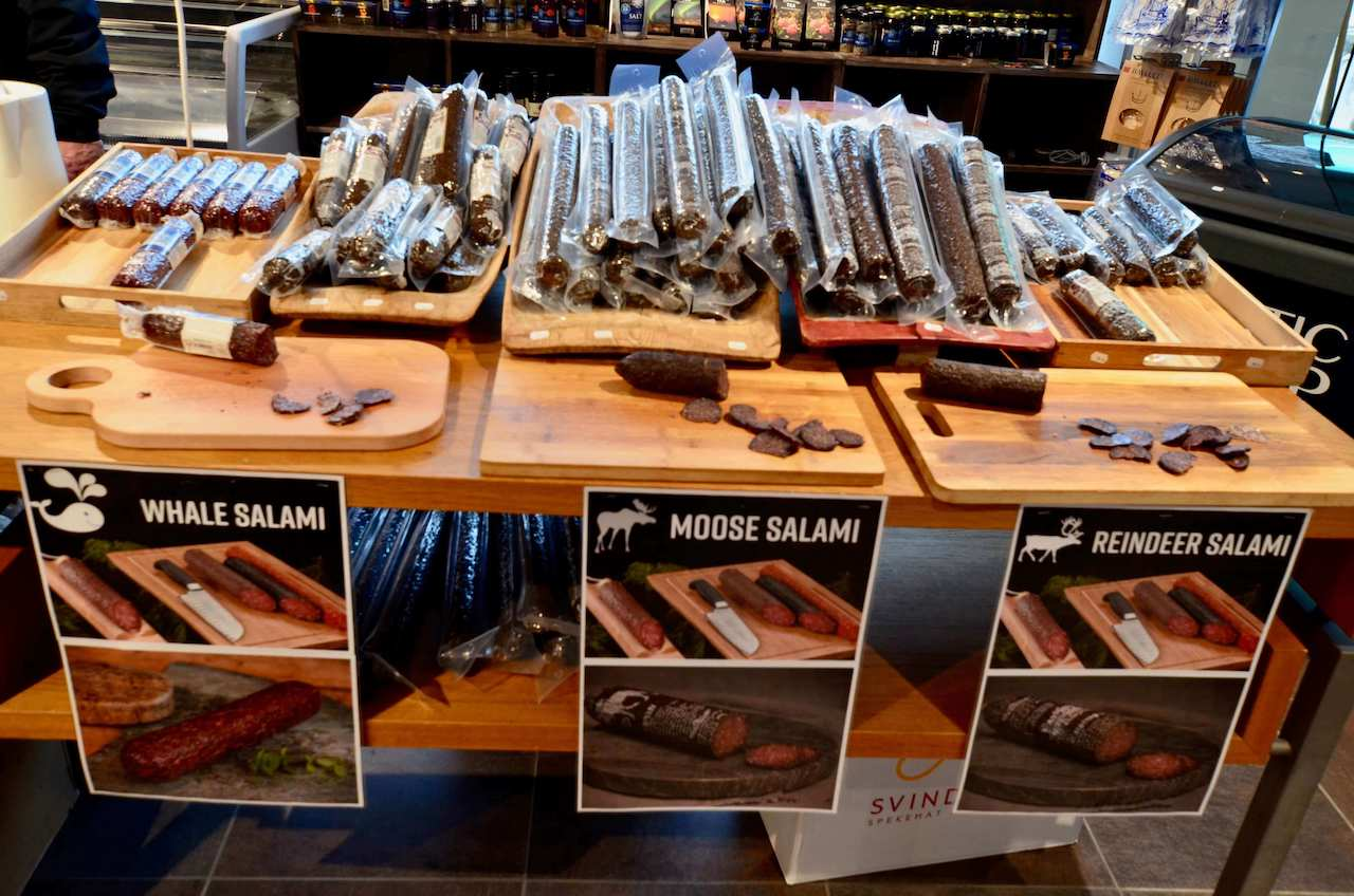 Norway, Tromsø - Reindeer, moose and whale meat